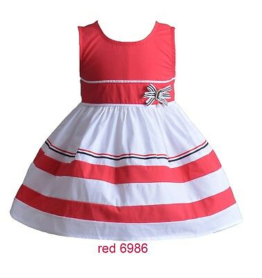 Girls Cotton Summer Party Dress in Blue Red White 3 4 5 6 7 Years
