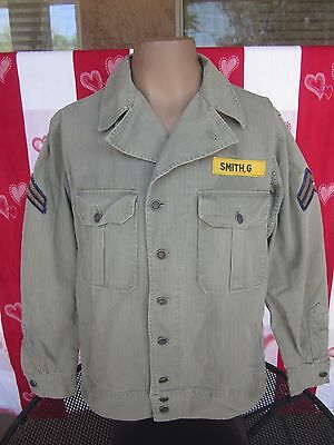 Korean War US Army MP, Military Police HBT Fatigue Utility Shirt w Patches