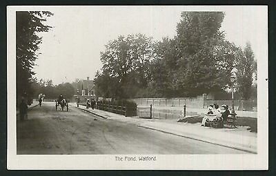 Postcard - The Pond, Watford,Herts -1911 Real photo
