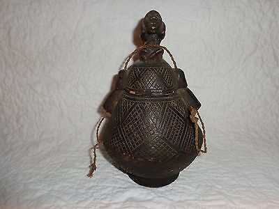 Small Antique/Vintage African Carved Wood Storage Vessel/Jar w Effigy Finial