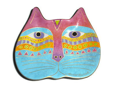 Laurel Burch 2007 Cat Face Plate Wine Things Retired Blue Pink