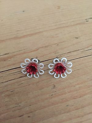 vintage style white and red Enamel flower earrings