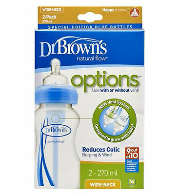 Dr Brown's Options Wide Neck Blue 270ml Bottle - Twin Pack