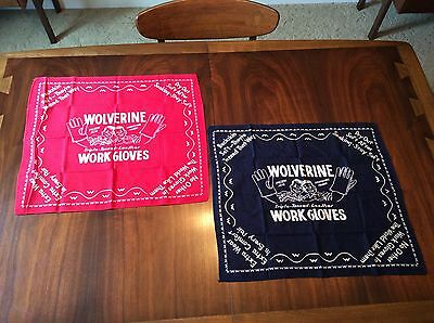 Two Vintage Wolverine Red And Blue Bandanas Hankerchiefs