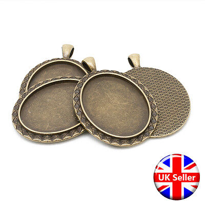 Antique Bronze 30mm x 40mm Oval Pendant Fob Blank Settings