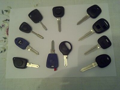 TRANSPONDER CAR KEY Supplied UNCUT WITH CHIP, FIAT, FORD, Kia hyundai Most Makes