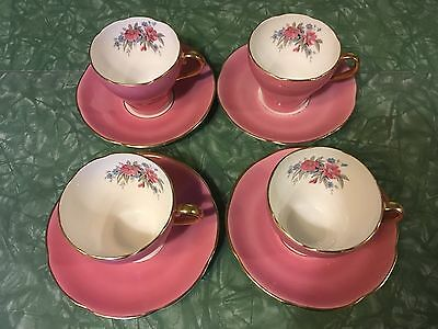 Adderley 4 Tea Cups And Saucers Pink & Pink Rose Floral
