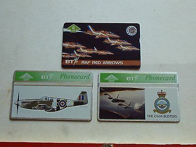 3 BT  Phone Cards Red Arrows Dambusters etc
