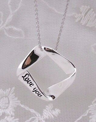 925 Sterling Silver Twisted Square  Love You Pendant Necklace Jewelry NEW