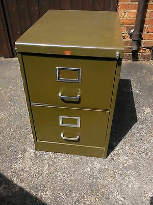 Vintage Retro Howden Mid-Century Industrial Olive Green Filing Cabinet