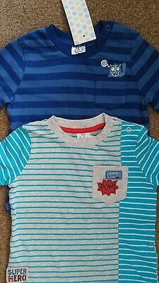 2 x STRIPED T SHIRTS / TOPS 6-9 MONTHS NEW WITH TAGS POW / MONSTER IN POCKET