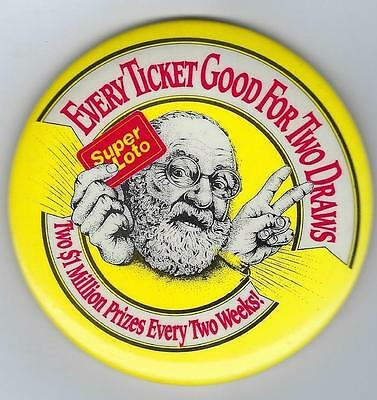 Vintage  Super Loto Every Ticket Good For Two Draws Pinback Button Old Man Peace