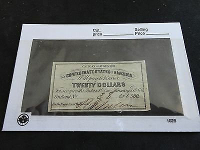 1866 Confederate States of America $20 Twenty Dollar Bond numbered and signed