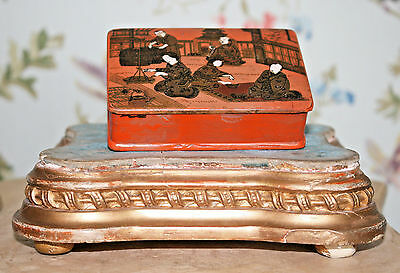 A Good Antique Chinese Papier Mache Lacquered Box, Figural Raised Decoration
