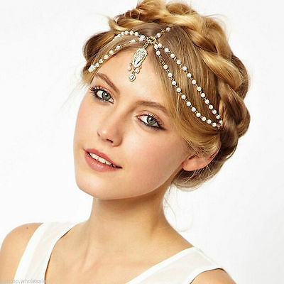 Medieval Headdress - Gold Tone Chain and Pearls - Very Elegant