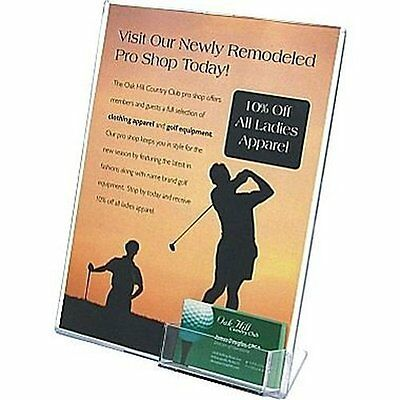 """Deflecto Superior Image Slanted Sign with Business Card Holder, 11"""" x 8 1/2"""" 59"""