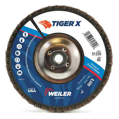 WEILER Flap Disc,7 in. x 60 Grit,5/8-11, 51221