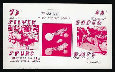 Qsl  Card Silver Spurs Rodeo Base  Grande Cache Alta.  8 Qsl Stamps  1  Risque