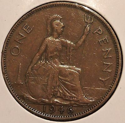 British Large Penny - 1946 - King George VI - $1 Unlimited Shipping