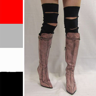 Black Slashed Cotton Leg Warmers Cyber Goth Clothing Over the Knee Socks 1021