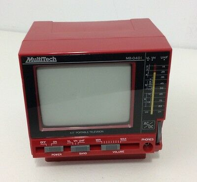 """Multitech Mb-0401 Red Vintage Portable 4.5"""" Black White Tv In Box Ac Adapter"""