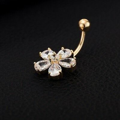 infOUK Gold Plated Zircon Crystal Flower Belly Button Ring Body Jewelry