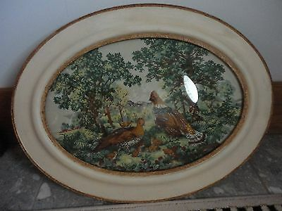 """VINTAGE oval  Beveled Glass Painted Wooden Frame, Pheasants 25"""" x 19"""""""