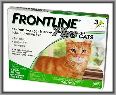 Frontline Plus Flea & Tick Control for Cats, Kittens Over 1.5 lbs, 3 Doses Box !