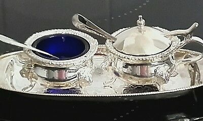 Silver plated Queen Anne style 2 piece condiment set with tray.