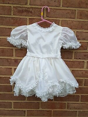 Vintage Girls White Satin  Party Dress Frills ~ Lydia USA size 2T