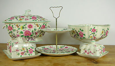 James Kent Old Foley Chinese Rose Cake Stand Tureen Bowl Dishes