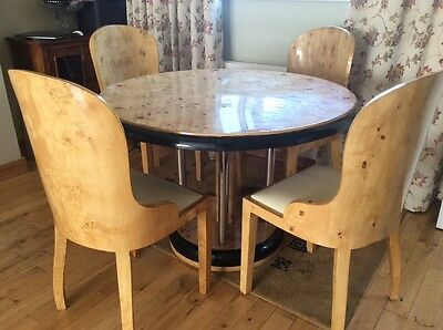Art Deco Birdseye Maple Dining Suite
