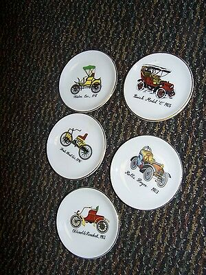 5 VINTAGE  BUTTER PATS  with cars  rolls royce winton ford buick  runaboat look