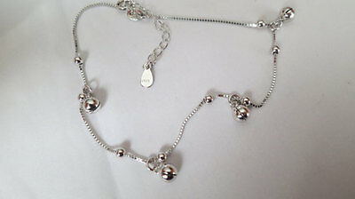 Sterling silver ankle chain, anklet with jingling silver bells, adjustable