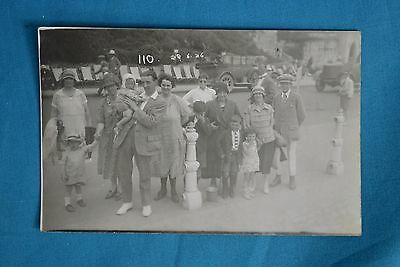 1926 Real Photo RP Postcard Charabanc Trip Tour Car In Background