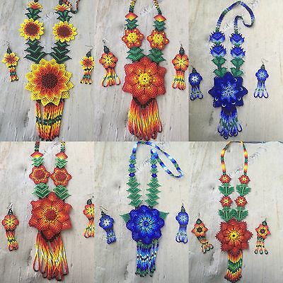 WHOLESALE 6 Mexican Huichol Flower Necklace Sets With Earrings