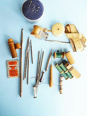 Antique Large Sewing Lot Tools Needles German Pin Cushions More! Auction #3