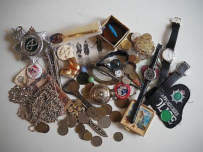 Job Lot of Antique & Vintage Collectables,Coins,Jewellery, Curios,Police Badge