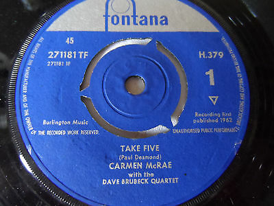 "Carmen McRae & The Dave Brubeck Quartet Take Five Rare 7""Single Fontana 1962 Ex+"