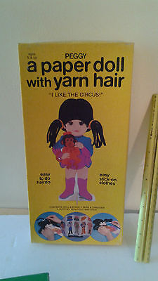 1982 Whitman Paper Doll with Yarn Hair Peggy Easy Stick on clothes  uncut Circus