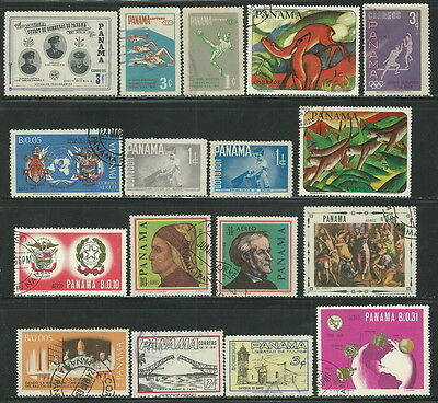 Panama Small Collection Of 17 Different Used Stamps (74)