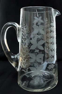 A Fabulous Heavy Etched Clear Glass Lemonade Juice Pitcher Jug - Early 1900's