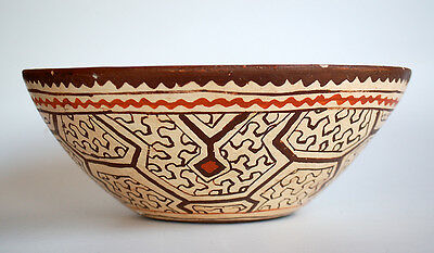 Vintage SHIPIBO Indian Pottery Bowl Amazon Peru Tribe Maze Designs