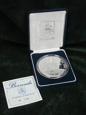 1988 Bermuda $5 5 Oz Silver Proof San Antonio - with Box and COA