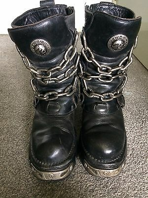 New Rock Reactor Biker/Goth Leather Boots with Chains/Buckles UK Size 11