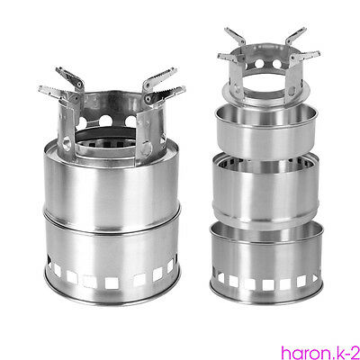 Stainless Steel Wood Stove Pocket Alcohol Stove Burner Outdoor Camping Cooking R