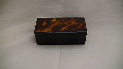Victorian Antique Papier Mache Lacquer Snuff Box With A Faux Tortoise Shell Top