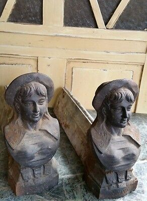(2) C.1900 ANTIQUE FRENCH CAST IRON FIGURAL ANDIRONS~ FIRE DOGS of A SAILOR GIRL