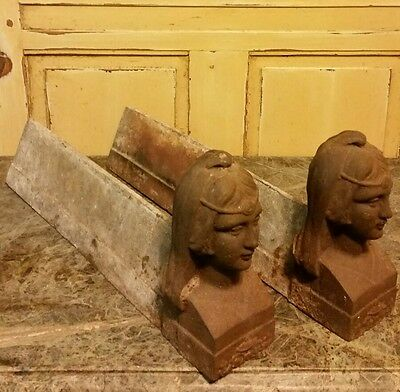 (2)  C.1890 ANTIQUE FRENCH CAST IRON FIGURAL ANDIRONS~ FIRE DOGS of A GODDESS