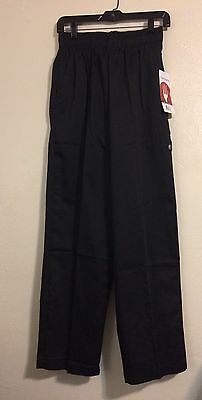 NWT Chef Works Drawstring Pull-on Pants Black Small Cooking Work Uniform